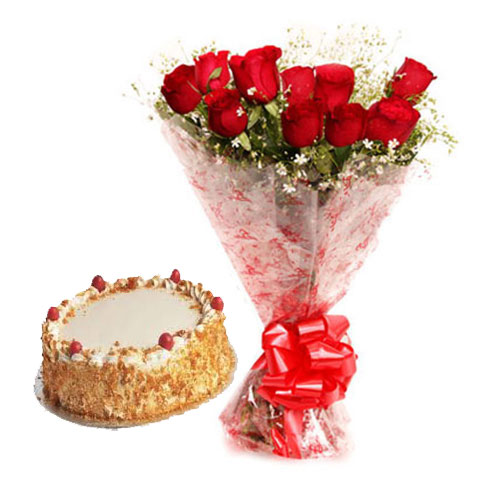 12 Roses With royal butterscotch Cake
