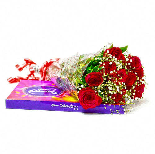 10 Roses with Cadbury box