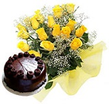 12 Yellow Roses bunch with Chocolate cakes