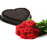 18 Roses With choco heart truffle Cake