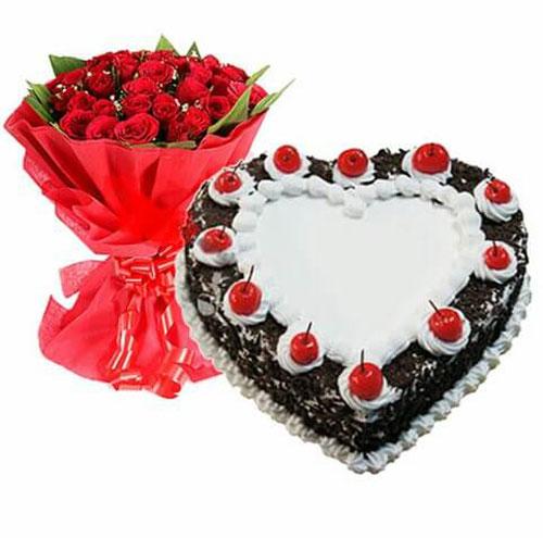 18 roses with joy heart shape black forest cake