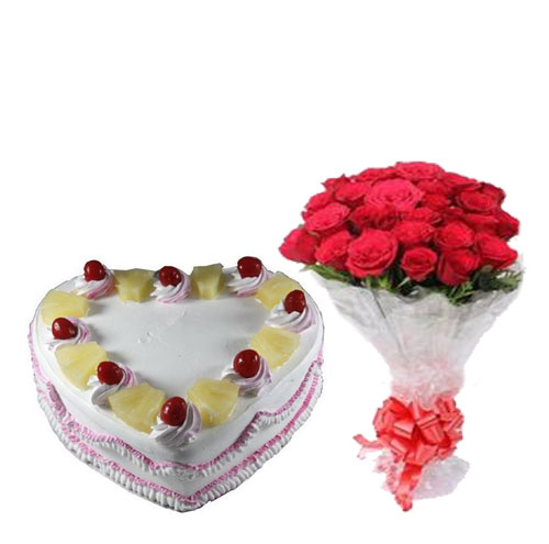 18 Roses With pineapple heart Cake