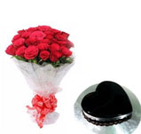 18 Roses With Special Heart Shape chocolate truffle Cake