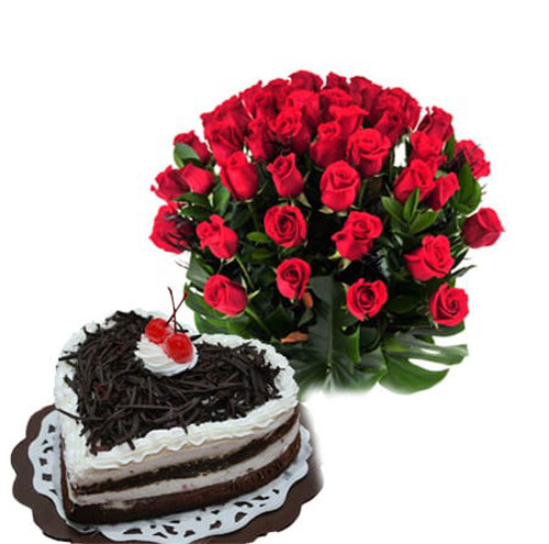 20 roses with low cream cake