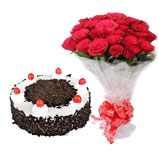 20 roses with special black forest cake