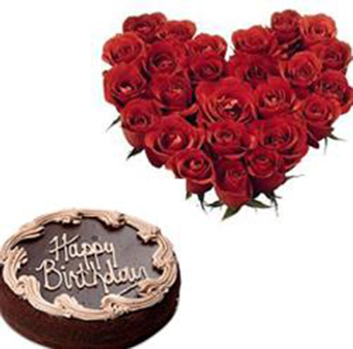 25 Red Rose Bouquet with chocolate cake