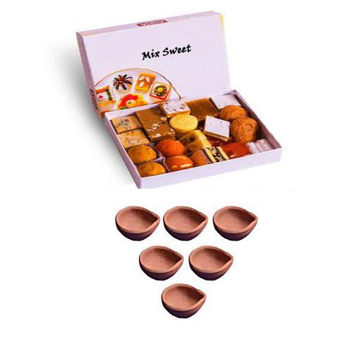 6 Diyas and Mix Sweets