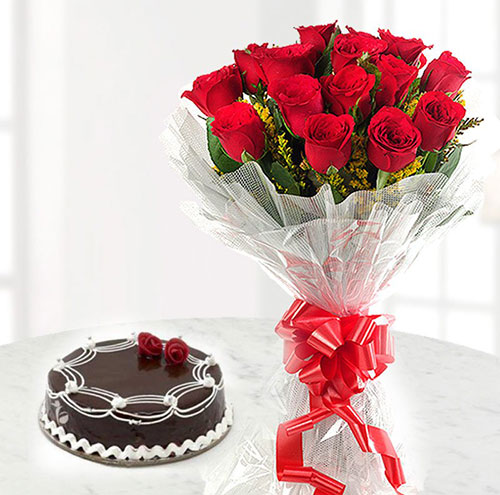Chocolate Cake with 12 red roses Flowers