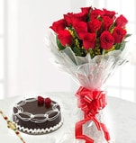 Chocolate Truffle cake, 12 Roses Flowers bunch with rakhi