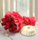 Pineapple Cake, Flowers with Rakhi