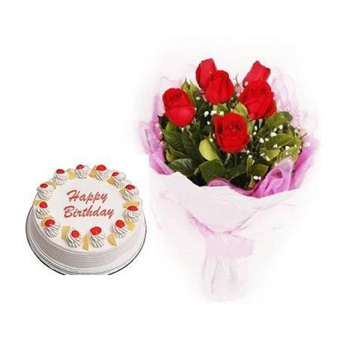 Pineapple Cake With 6 Red Roses Shopnideas