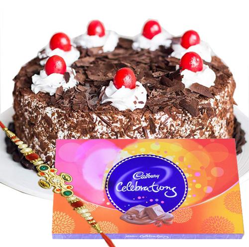 Special Black forest cake, Cadbury celebration with Rakhi