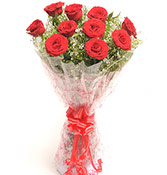10 Red Roses Bouquet delivery in Rajkot