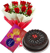 10 red roses bouquet and cadbury chocolate with 500gms Chocolate cake