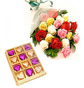 12 mix roses with 12 chocolate box