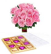 12 Pink Roses With 12 Chocolate Box Online delivery in Nagpur - Shopnideas