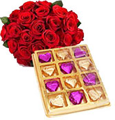 20 red roses with 12 chocolate box
