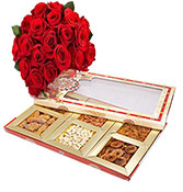 20 red roses with 500gm dry fruits box