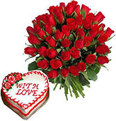 25 Roses With 1kg Heart Shape Mix Fruits Cake Online delivery in Rajkot - Shopnideas