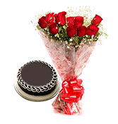 12 Roses Bunch With Chocolate Cake 500gm Online delivery in Bilaspur - Shopnideas