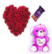 50 Red Roses with best wish teddy bear