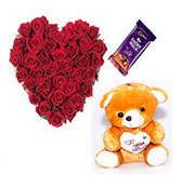 50 Red Roses with love wish teddy bear