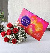 6 red roses with 118g cadbury chocolate box