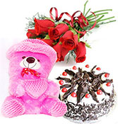 12 Red Roses With Half Kg Black Forest Cake With Cute Teddy Bear Online delivery in Nagpur - Shopnideas