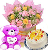 12 pink and yellow mix roses with half kg mix fruits cake with small teddy bear