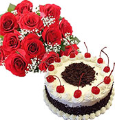 Black Forest 500gm Cake With 10 Roses Bunch delivery in Surat