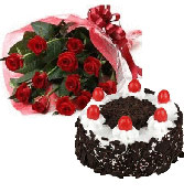 500gms Black forest cake with 12 Red Roses