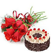 500gms Black Forest With 6 Roses Online delivery in Wardha - Shopnideas