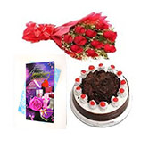 500gm Black Forest Cake With Roses And Anniversary Greeting  Online delivery in Wardha - Shopnideas