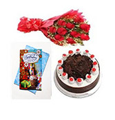 500gm Black Forest Cake With Roses And Birthday Greeting  Online delivery in Wardha - Shopnideas