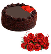 500gm choco chip cake with 10 Roses