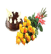 500gms chocolate cake with 18 yellow roses