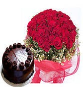 500gms Chocolate cake with 50 Roses