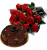 Combo 12 Flowers With 500gms Truffle Cake  Online delivery in Wardha - Shopnideas