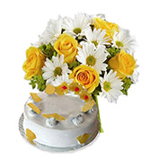 Pineapple 500gm Cake With 6 Yellow Roses Online delivery in Rajkot - Shopnideas