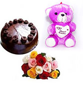 12 mix roses with half kg chocolate cake with smal...