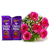 6 red roses with cadbury silk chocolate combo