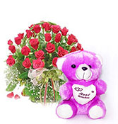 gift hamper 16 roses with best wish teddy bear