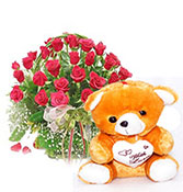 gift hamper 16 roses with love wish teddy bear