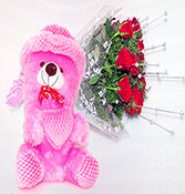 gift hamper 12 red roses with teddy bear