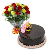 Combo Chocolate Cake With 12 Roses