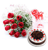 12 Red Roses bunch with 500gms Black forest cakes