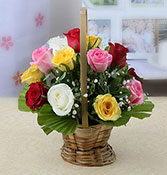 Round Basket Of 15 Fresh Mixed Roses Online delivery in Nagpur - Shopnideas