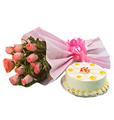 Special Love One 500gm Butterscotch Cake With 10 Pink Roses Online delivery in Wardha - Shopnideas