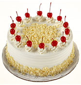 White Forest Cake with cherry