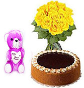 12 yellow roses with half kg chocolate truffle cake and teddy bear